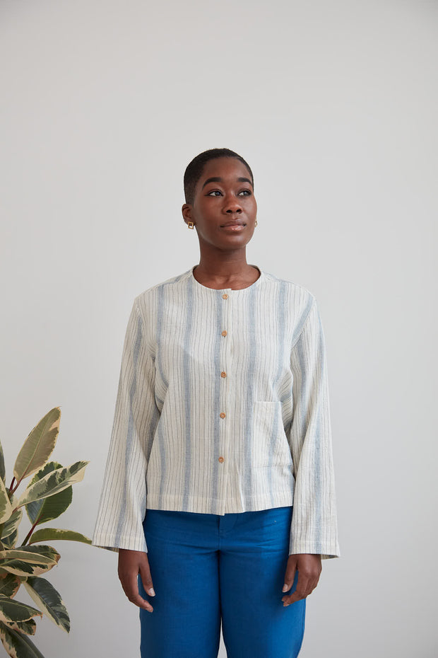 Frida Shirt, Indigo Stripe