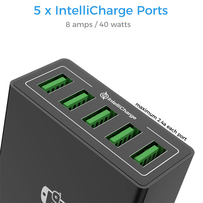 PowerHub 5 Ports Power Charging Station - GeekCases