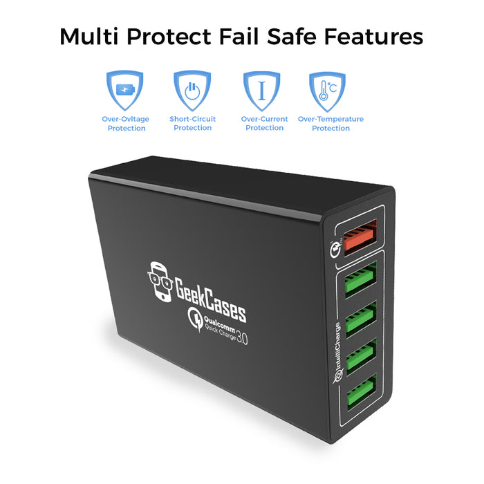 PowerHub QuickCharge 3.0 5 Ports Fast Charging Station - GeekCases