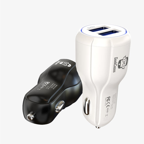 Dual USB Car Charger with QuickCharge 2.0 - White