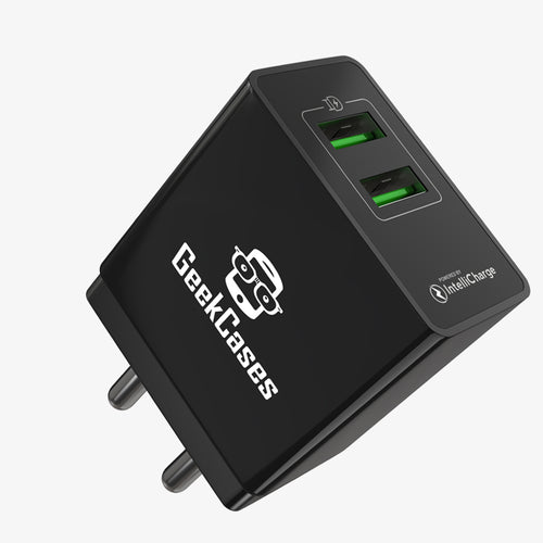ZipCube Dual USB 3.4A Wall Charger Adapter - Black - GeekCases