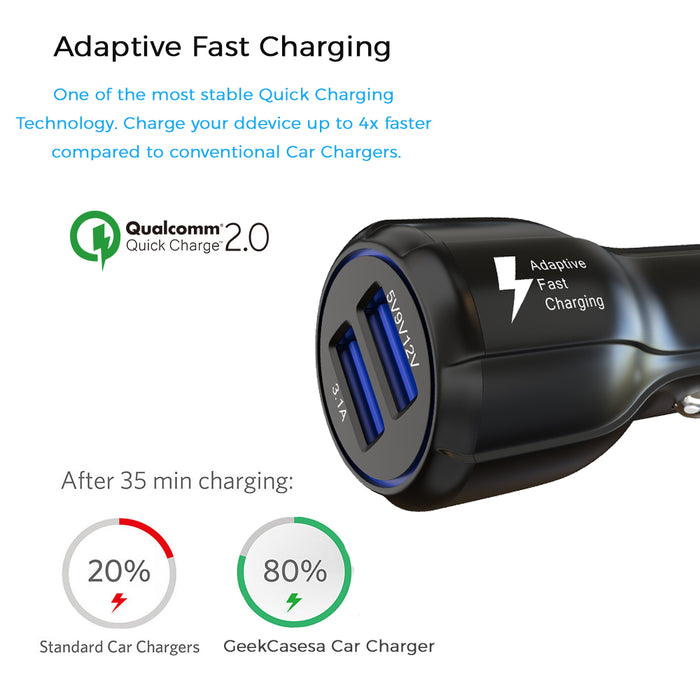 Dual USB Car Charger with QuickCharge 2.0 - Black - GeekCases