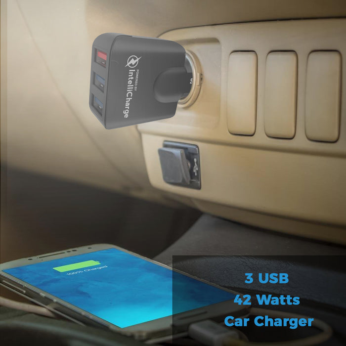3 USB Car Charger with QuickCharger 3.0 - Black - GeekCases