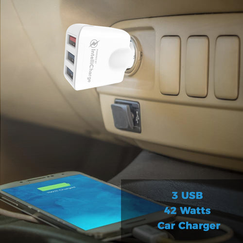 3 USB Car Charger with QuickCharge 3.0 - White - GeekCases