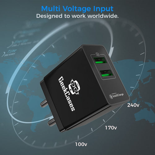 GeekCases Dual USB Ports 5V 2.4A Smart Wall Charger Adapter (Black) - GeekCases