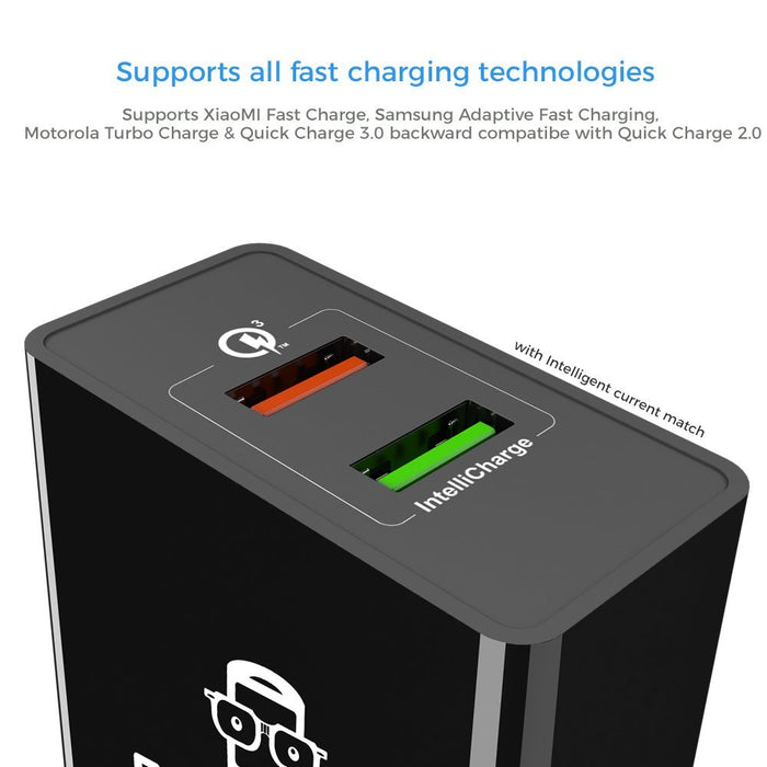 GeekCases ZipCube Dual USB QuickCharge 3.0 Smart Wall Charger Adapter (Black) - GeekCases