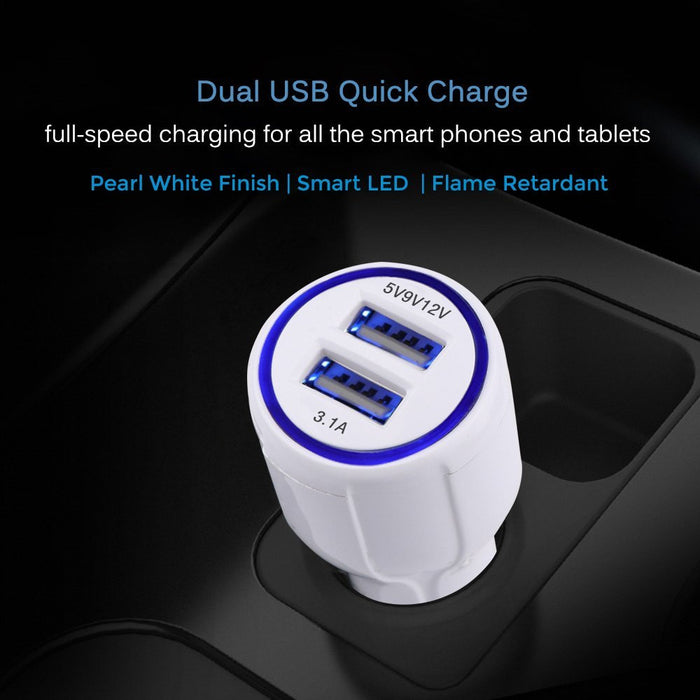 Dual USB Car Charger with QuickCharge 2.0 - White - GeekCases