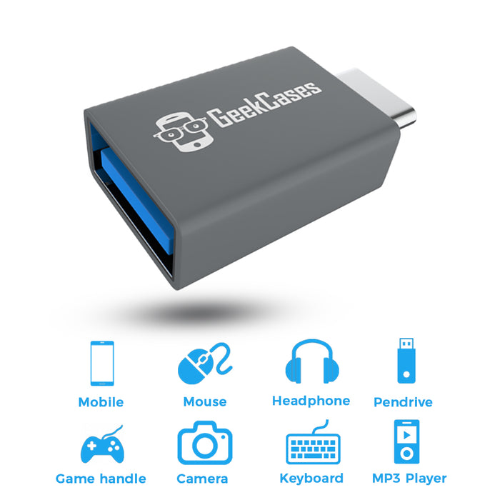 GeekCases USB 3.0 to USB Type-C OTG Adapter for Data Syncing & Charging (Grey) - GeekCases