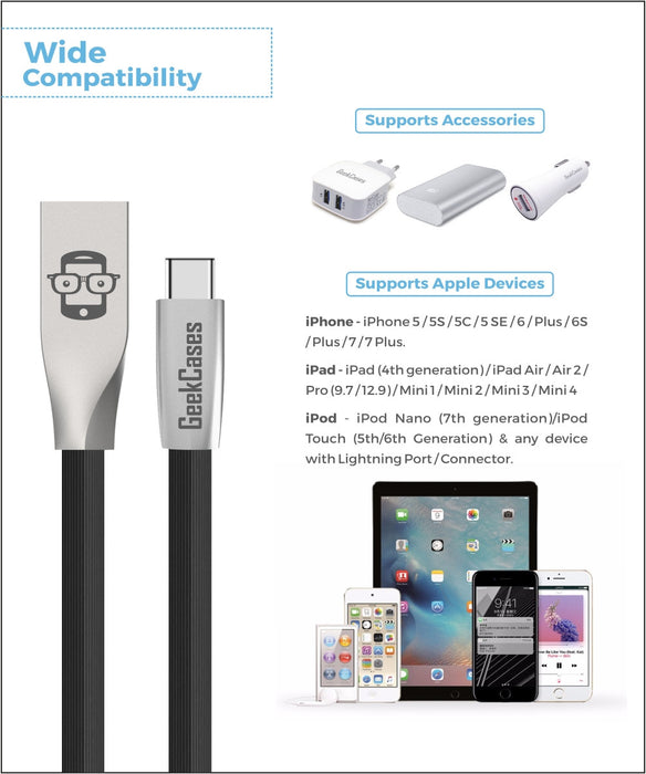 Rhombus Type-C Cable- Black - GeekCases