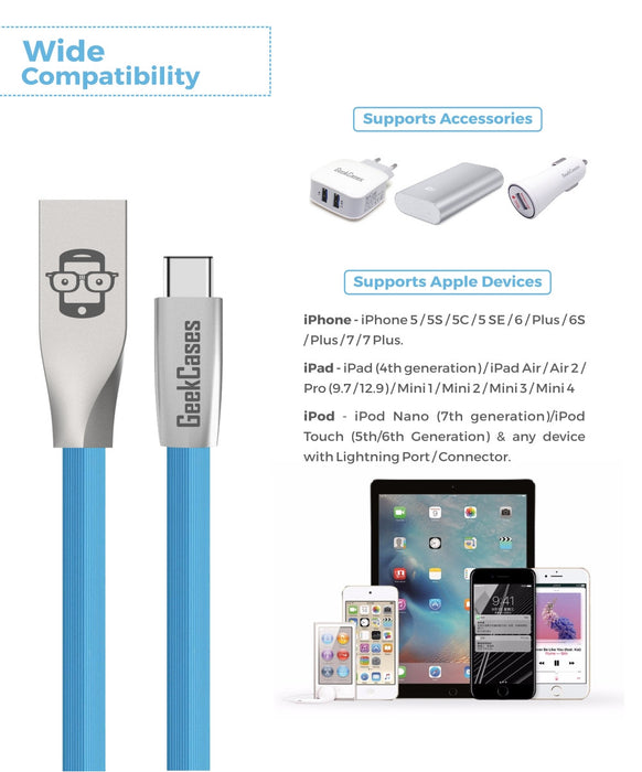 Rhombus Type-C Cable- Blue - GeekCases