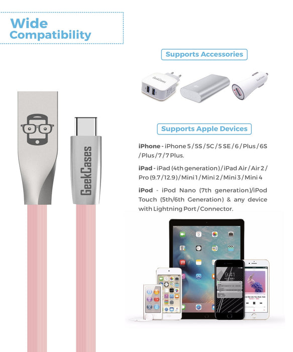 Rhombus Type-C Cable- Pink - GeekCases