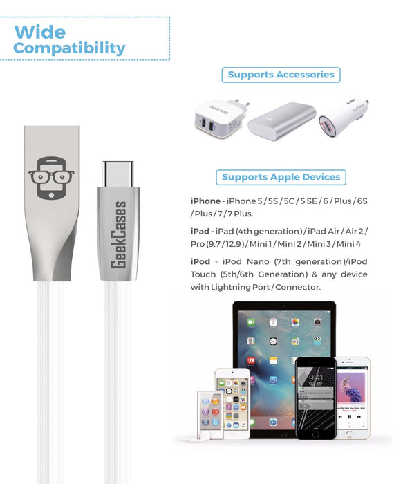 Rhombus Type-C Cable- White - GeekCases
