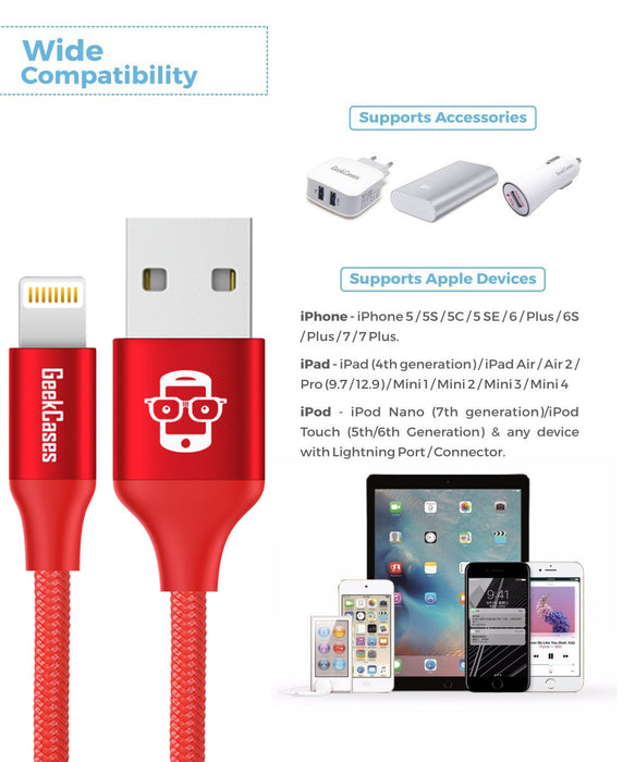 GeekCases Duré Apple Lightning 1.2M - 4Ft. Cable for iPhone, iPad and iPod (Red) - GeekCases