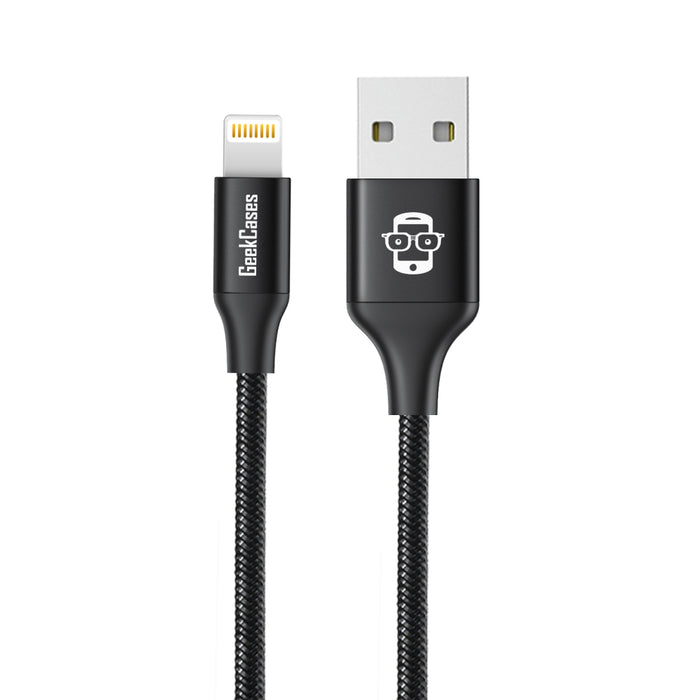 GeekCases Duré Apple Lightning 1.2M - 4Ft. Cable for iPhone, iPad and iPod (Black) - GeekCases