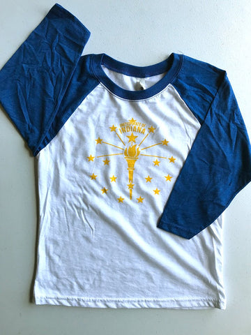 Torch and Stars Youth Baseball Tee ***CLEARANCE*** - United State of Indiana: Indiana-Made T-Shirts and Gifts