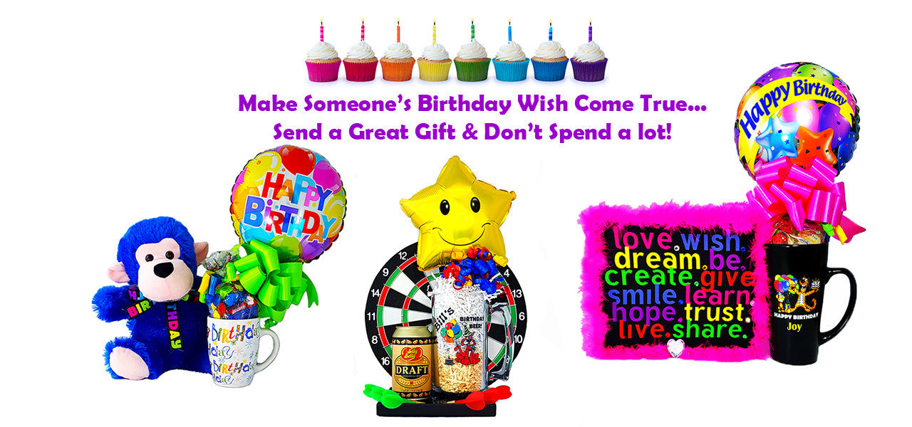 Make someone's birthday wish come true. Mug, candy, & balloon arrangement. Personalized beer mug with Dart board, stuffed animals, and kids gifts.
