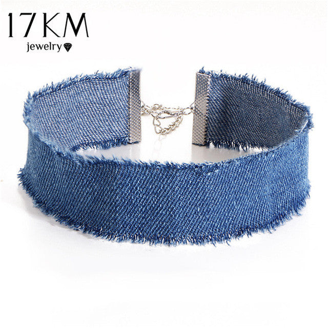 Distressed Denim Choker