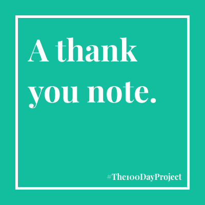 A thank you note.