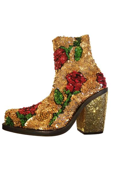 'FALLING ROSE' Gold Hand-Sequinned Ankle Boots