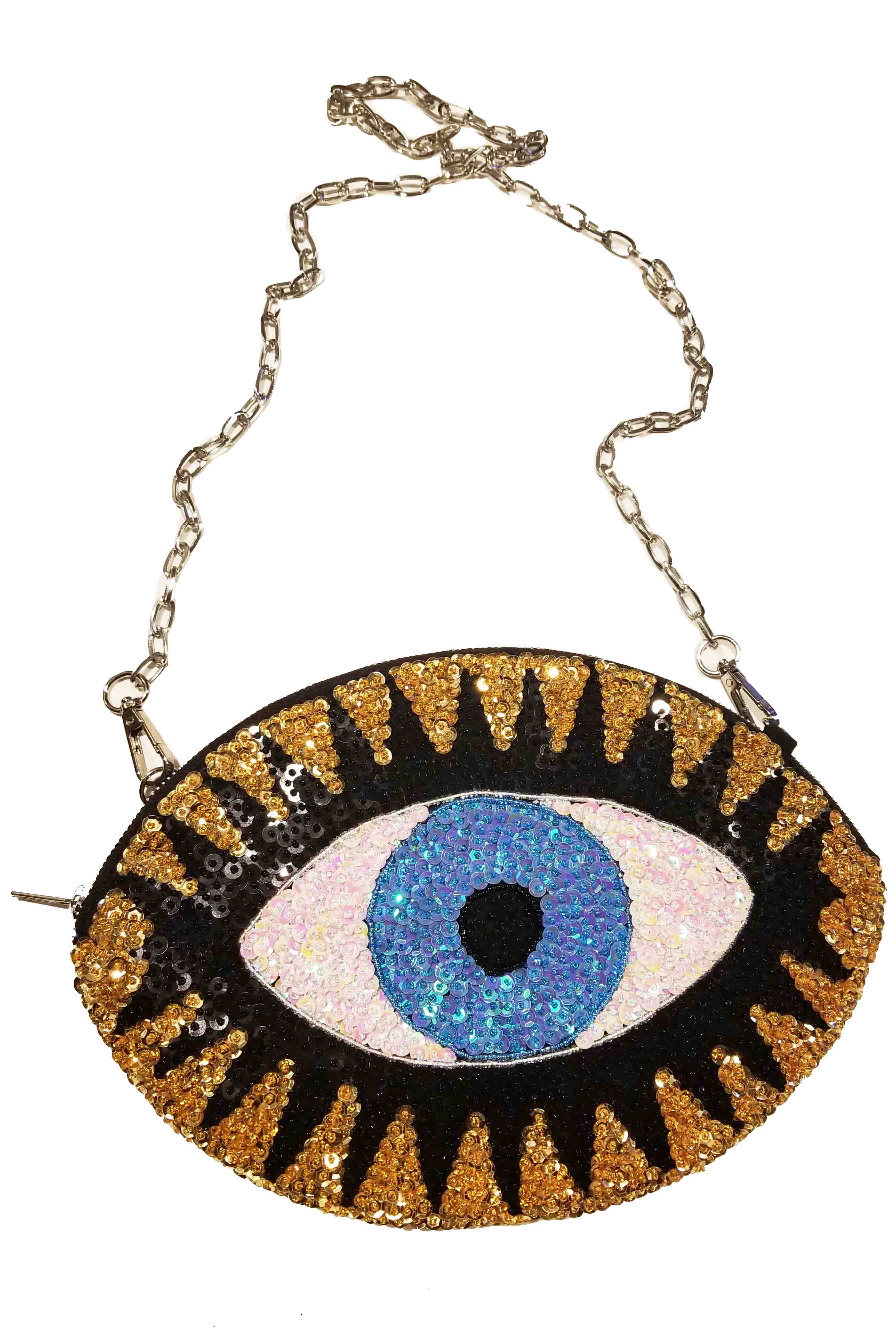 LARGE CLA$$IC 'EVIL EYE' CLUTCH WITH SHOULDER CHAIN
