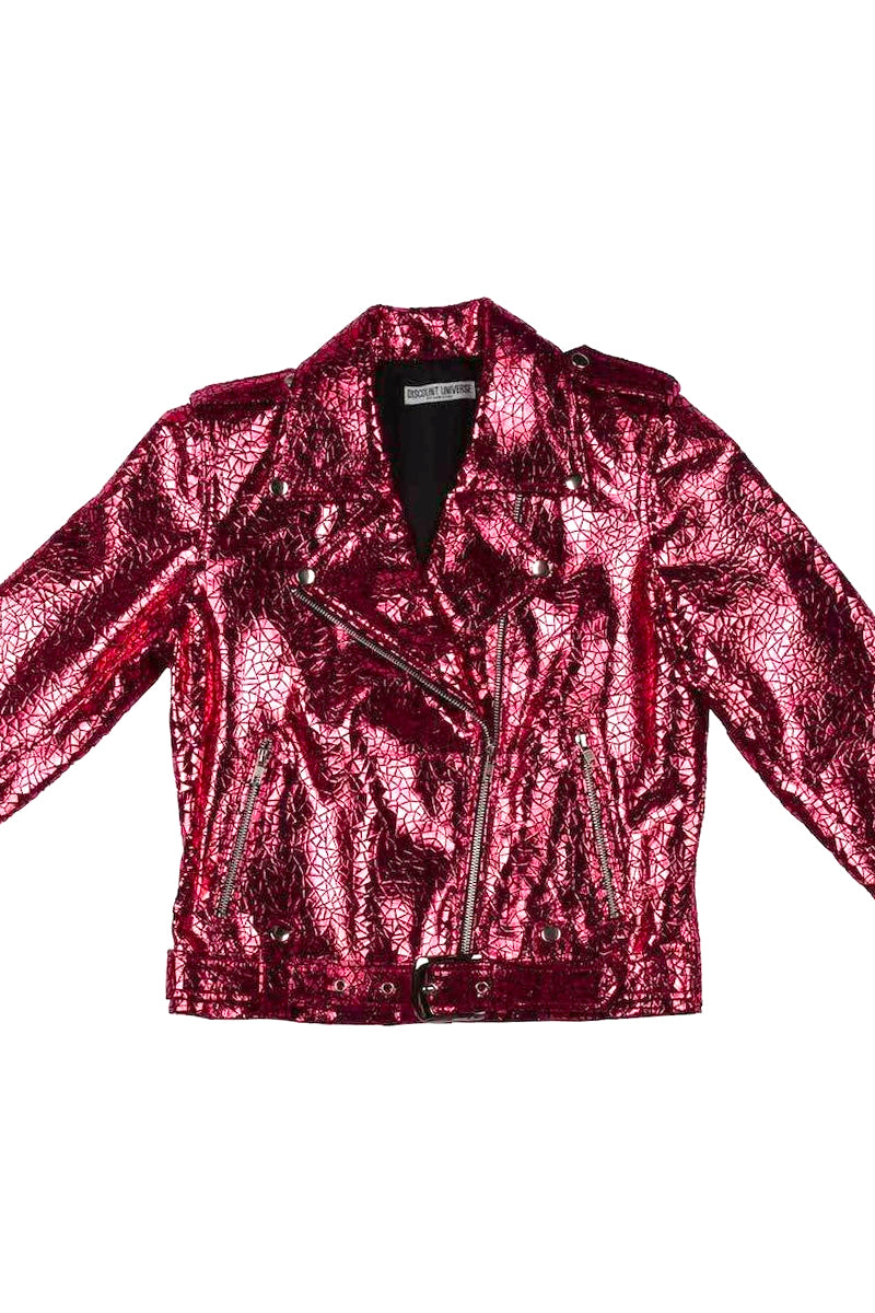 'CLASSIC' DU Biker Jacket Red cracked metallic