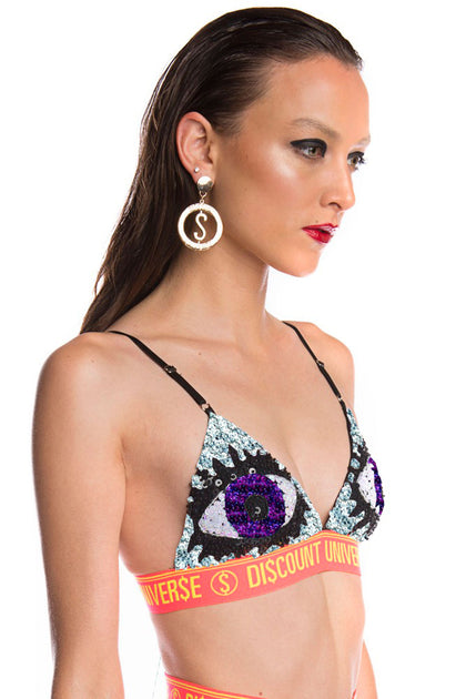 'EVIL EYE' Bra Silver and Purple