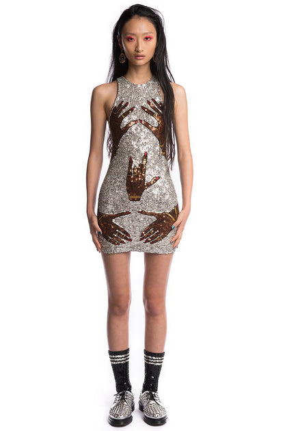 ONE OFF- SILVER HAND$ OFF SEQUINNED MINI DRESS