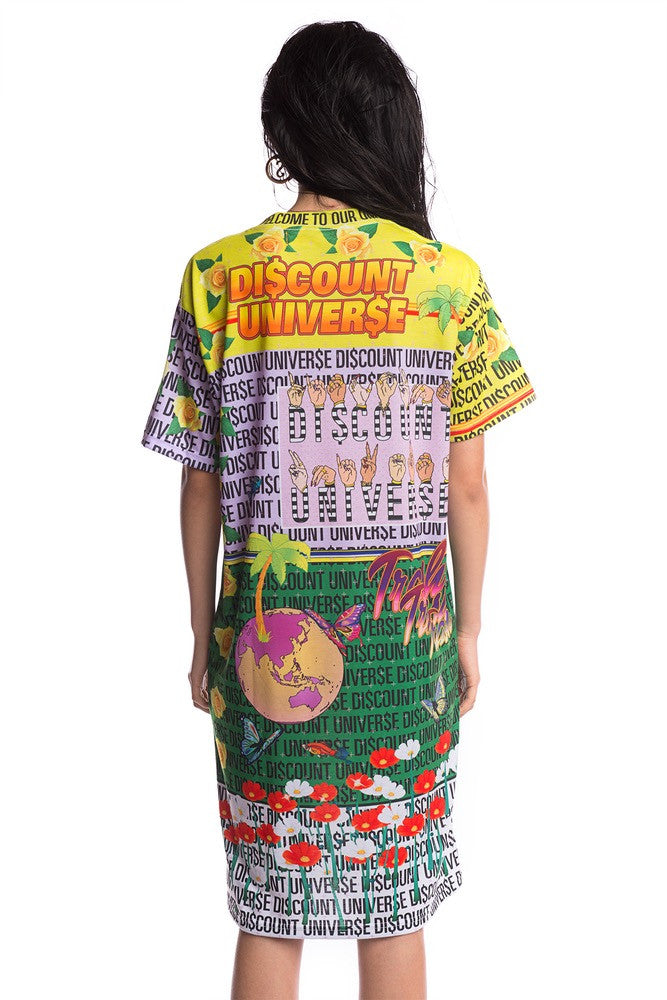 'WELCOME TO THE DI$COUNT UNIVER$E' DIGITAL PRINT DRESS