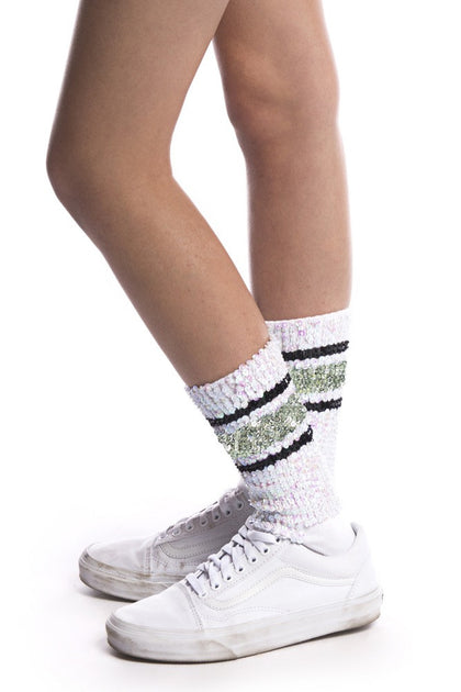 WHITE WITH SILVER AND BLACK STRIPES ANKLE SOCKS