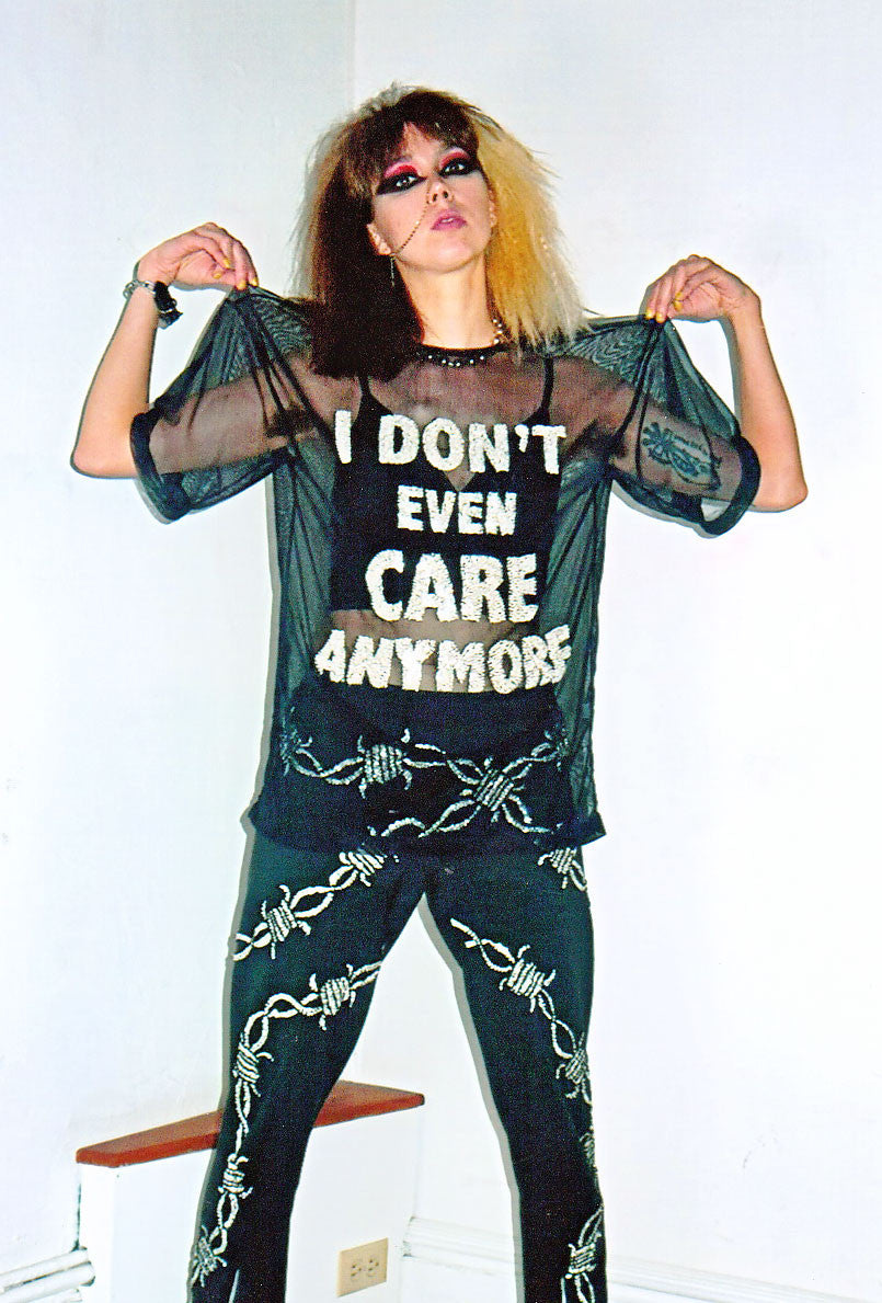 IDGAF mesh tee, I don't even care anymore mesh tee, mesh tee, sequinned mesh tee, sequinned text, sequinned words, sequinned, sequins, mesh tee, mesh t-shirt, tee, t-shirt, white, white sequins, black, sequinned mesh, discount universe, di$count universe