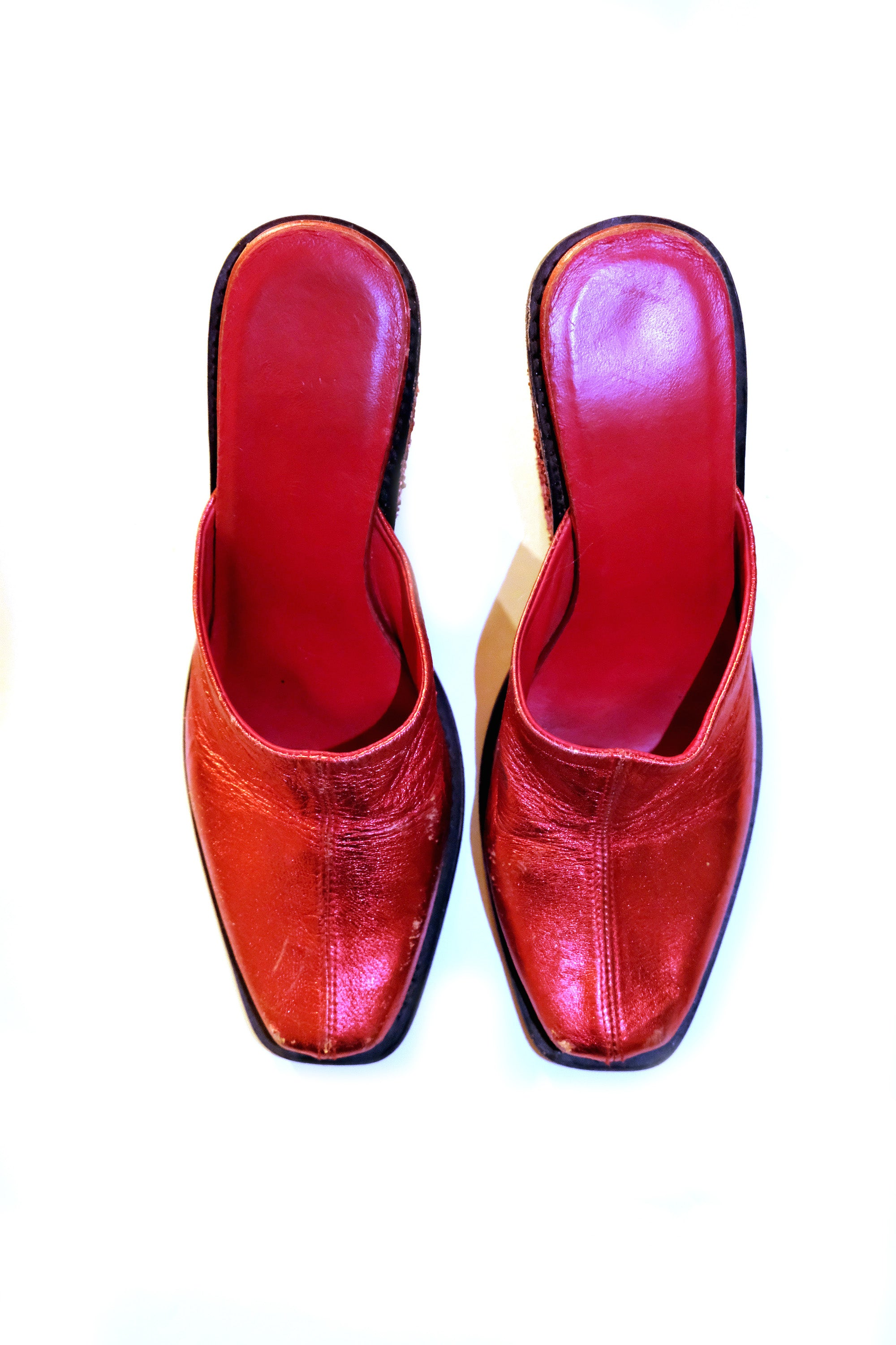 Red Leather Mules