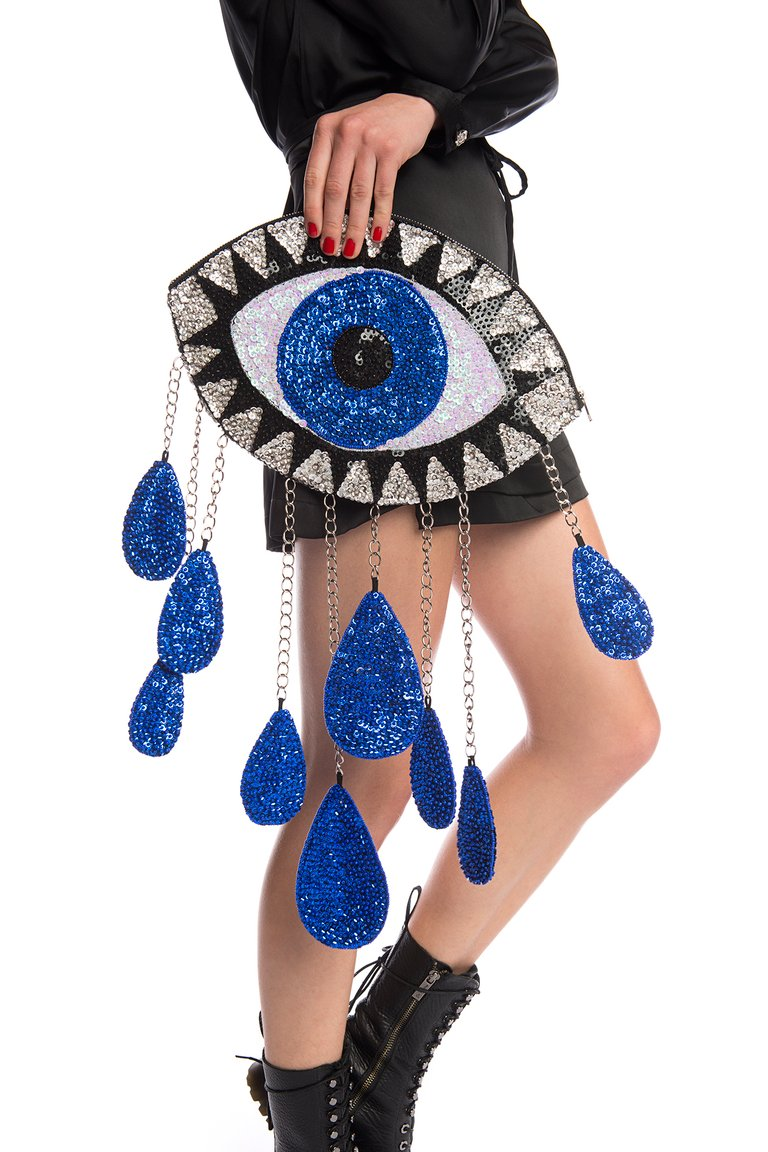 LAST ONE! BLUE 'CRYING EYE' CLUTCH
