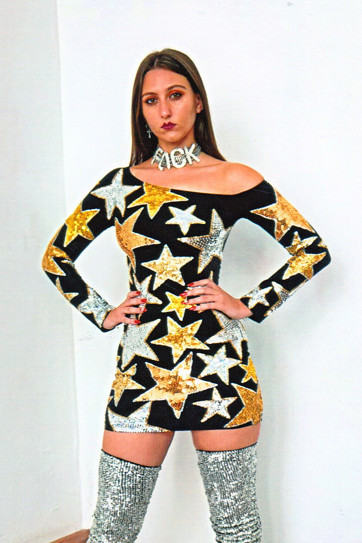 starry night mini dress, starry night dress, starry night mini, gold and silver star dress, sequinned star dress, sequinned stars, discount universe, di$count universe, keyisha kaior dress, mini dress, sequins, dress, sequinned dress, discount universe, di$count universe