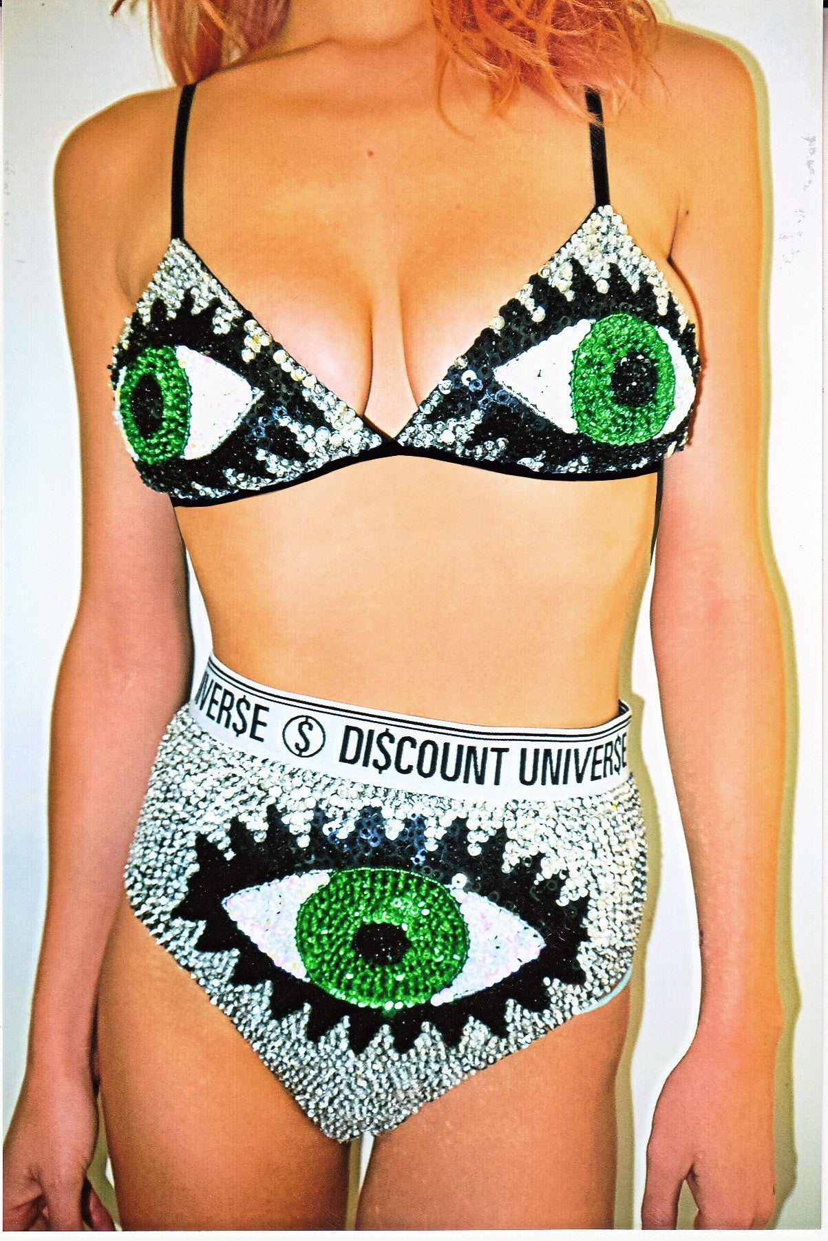 'EYE-CON' Hand-Sequinned Bra