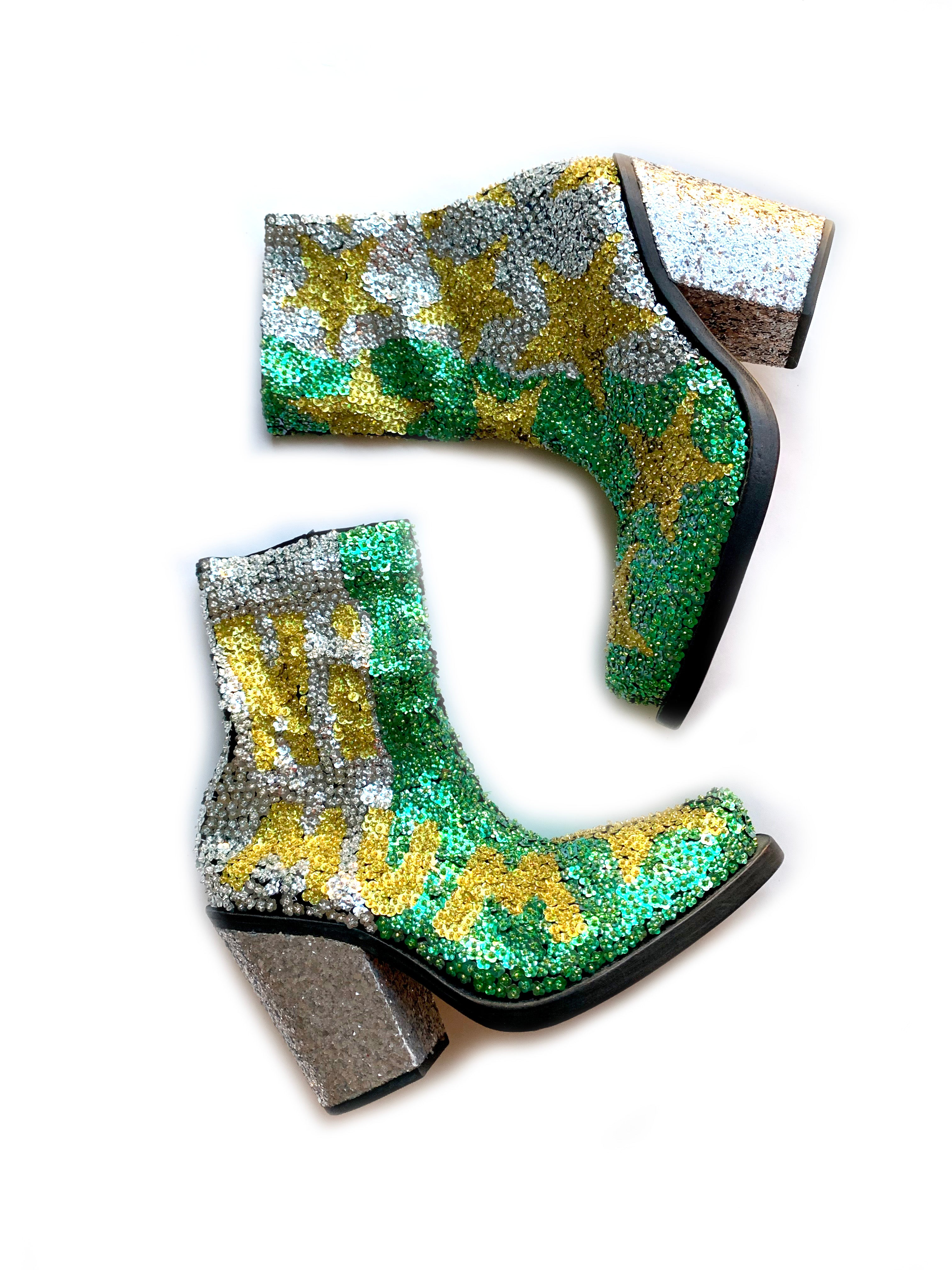 'HI MUM' Hand-Sequinned Ankle Boots