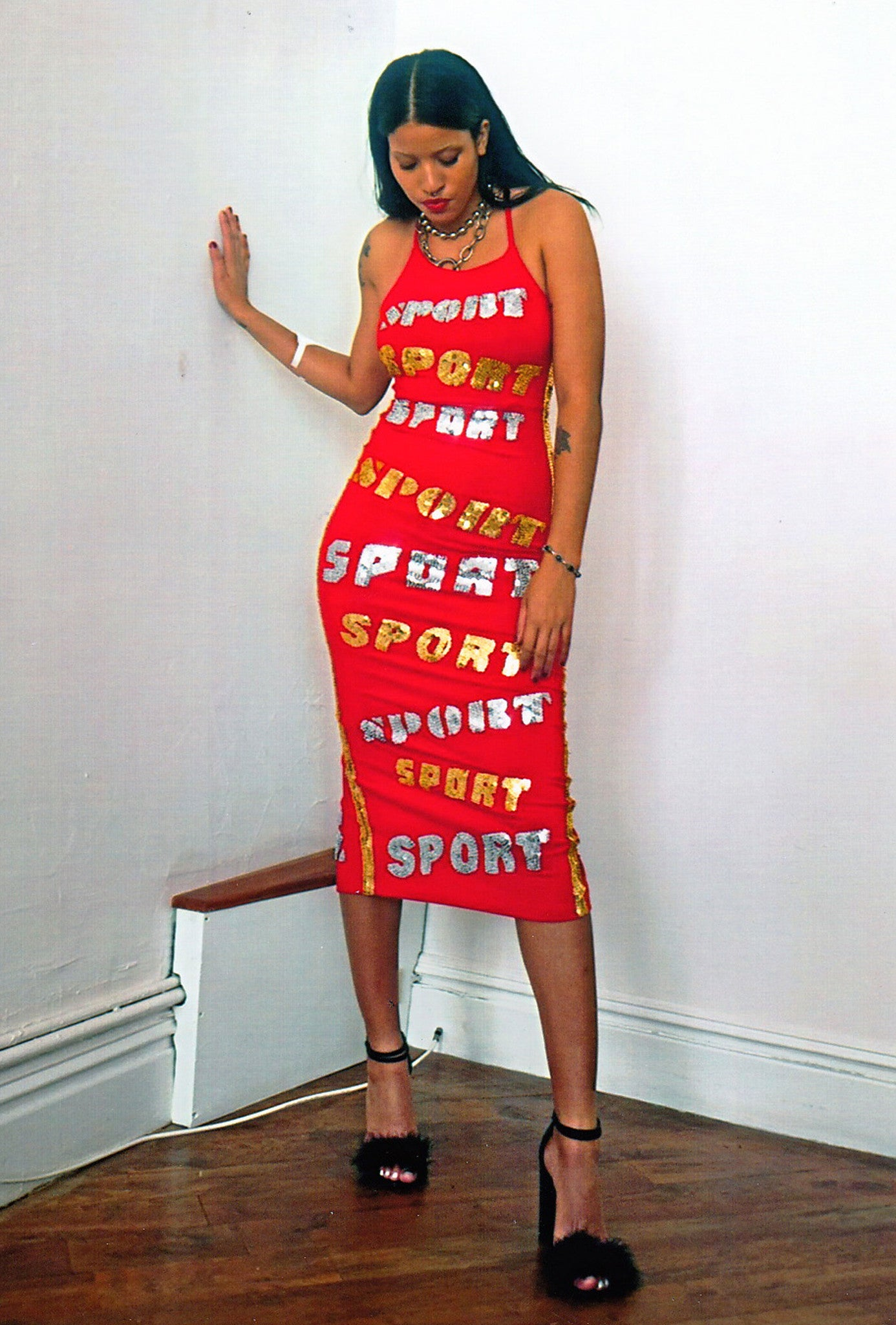 the ferrari dress, ferrari dress, sport dress, red sport dress, sequinned text, sequinned sport, ferrari pencil dress, lace up pencil dress, red dress, red sport dress, sequinned dress, sequinned pencil dress, sport, discount universe, di$count universe