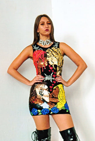 'TOILET GRAFFITI' Lace-up Mini Dress