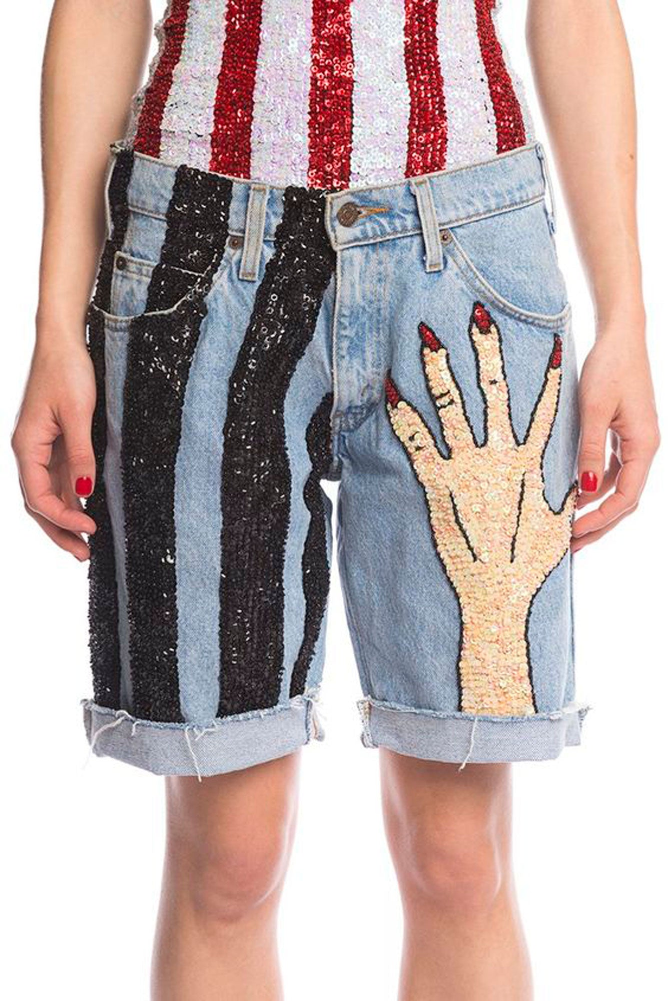 RARE ONE-OFF! 'HANDS OFF' Hand-Sequinned Denim Shorts