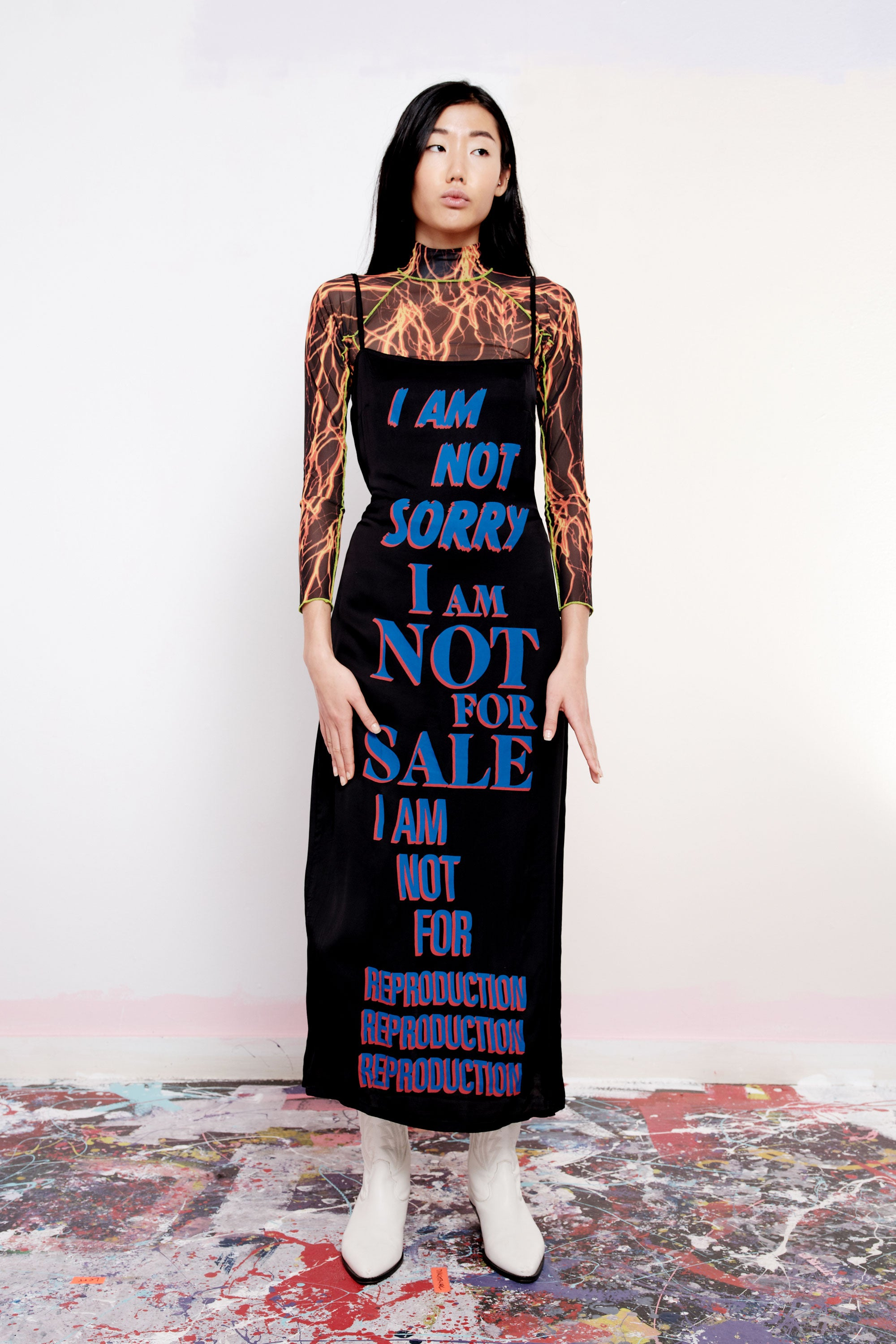 I Am Not Sorry Print Slip Dress - Black