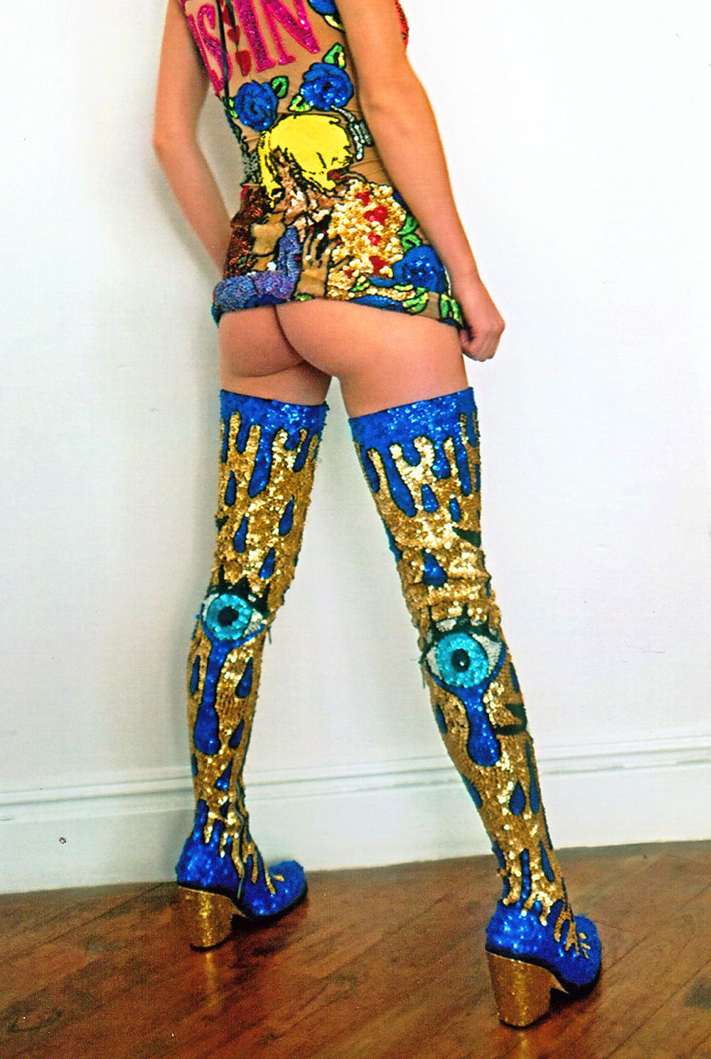'CRYING EYE' Hand-sequinned Thigh High Boots