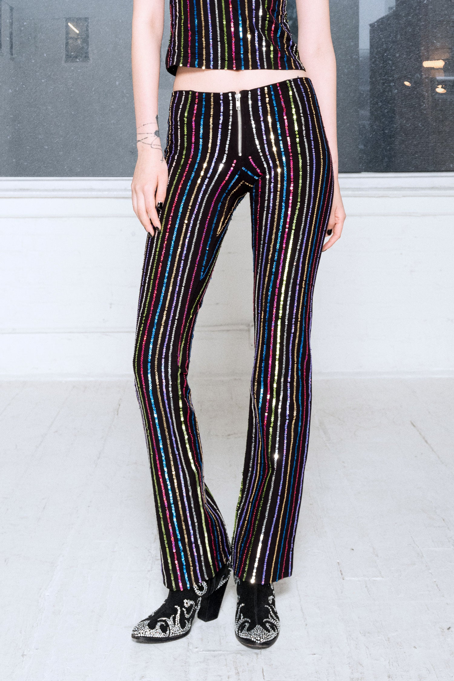 1999 Pinstripe Pants in Rainbow