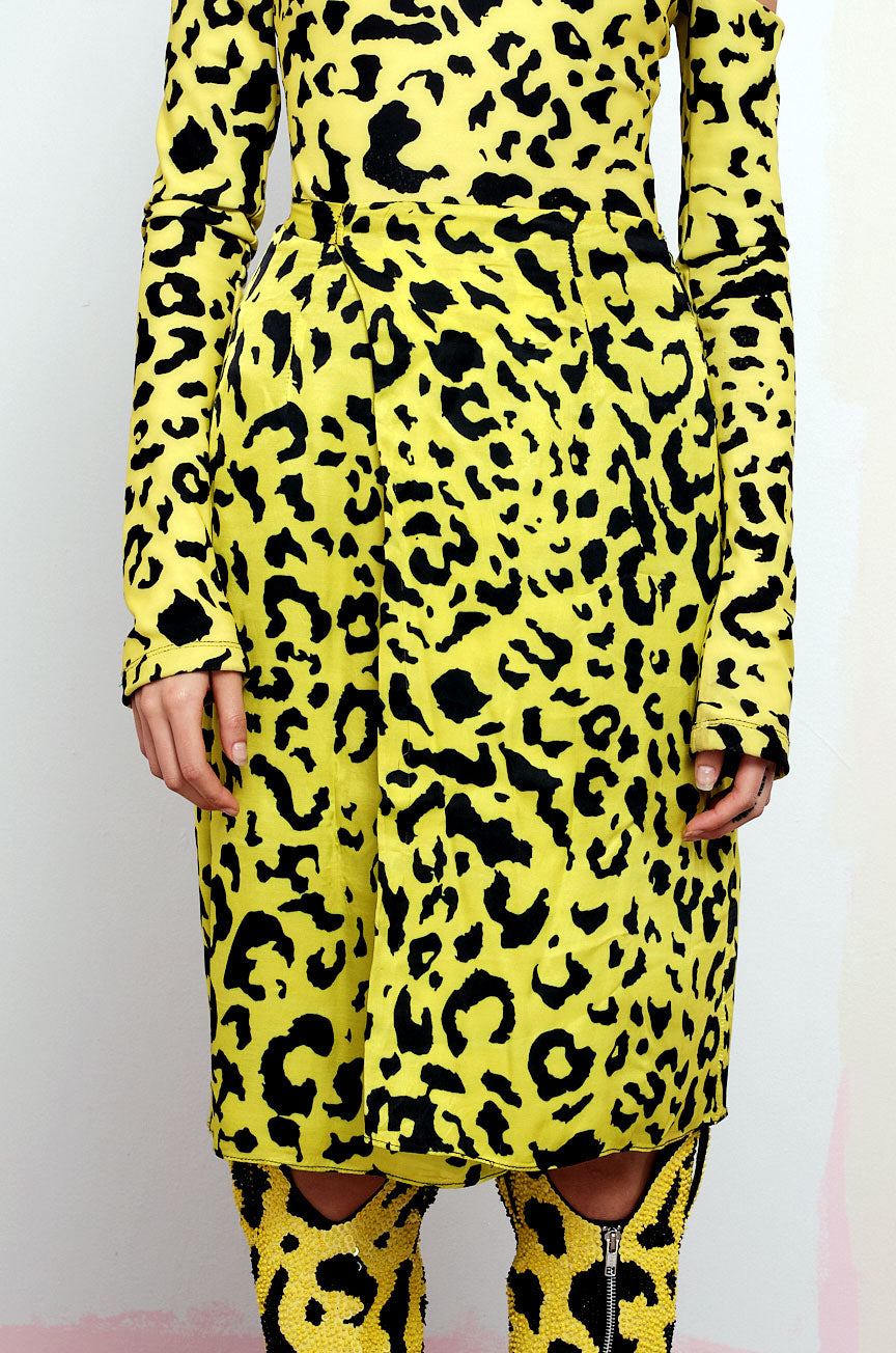 The Bam Bam Wrap Skirt in Yellow Leopard