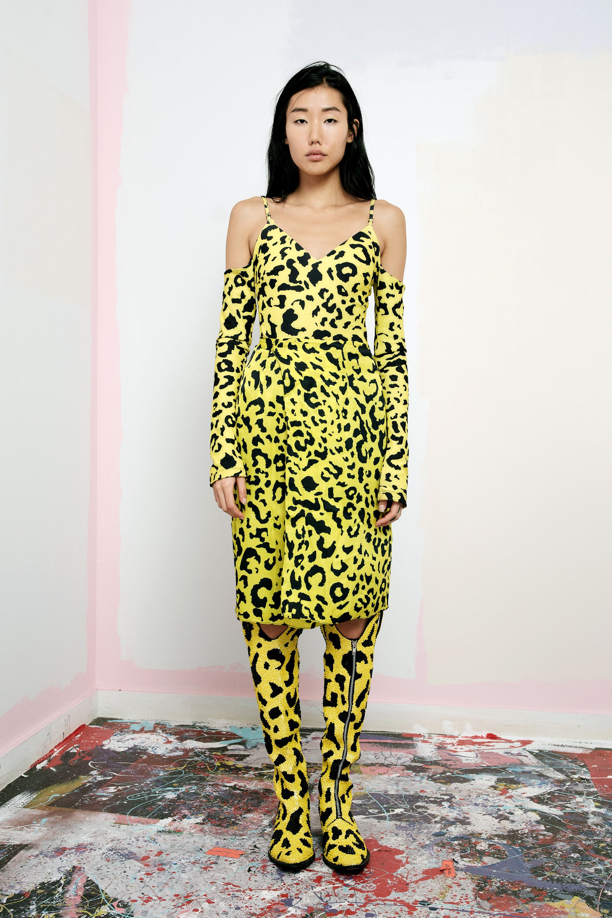 The Bam Bam Leotard in Yellow Leopard