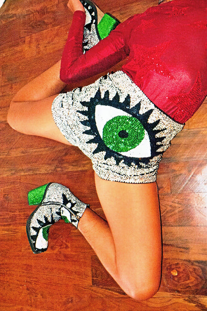 'EVIL EYE' Sequinned Ankle Boots