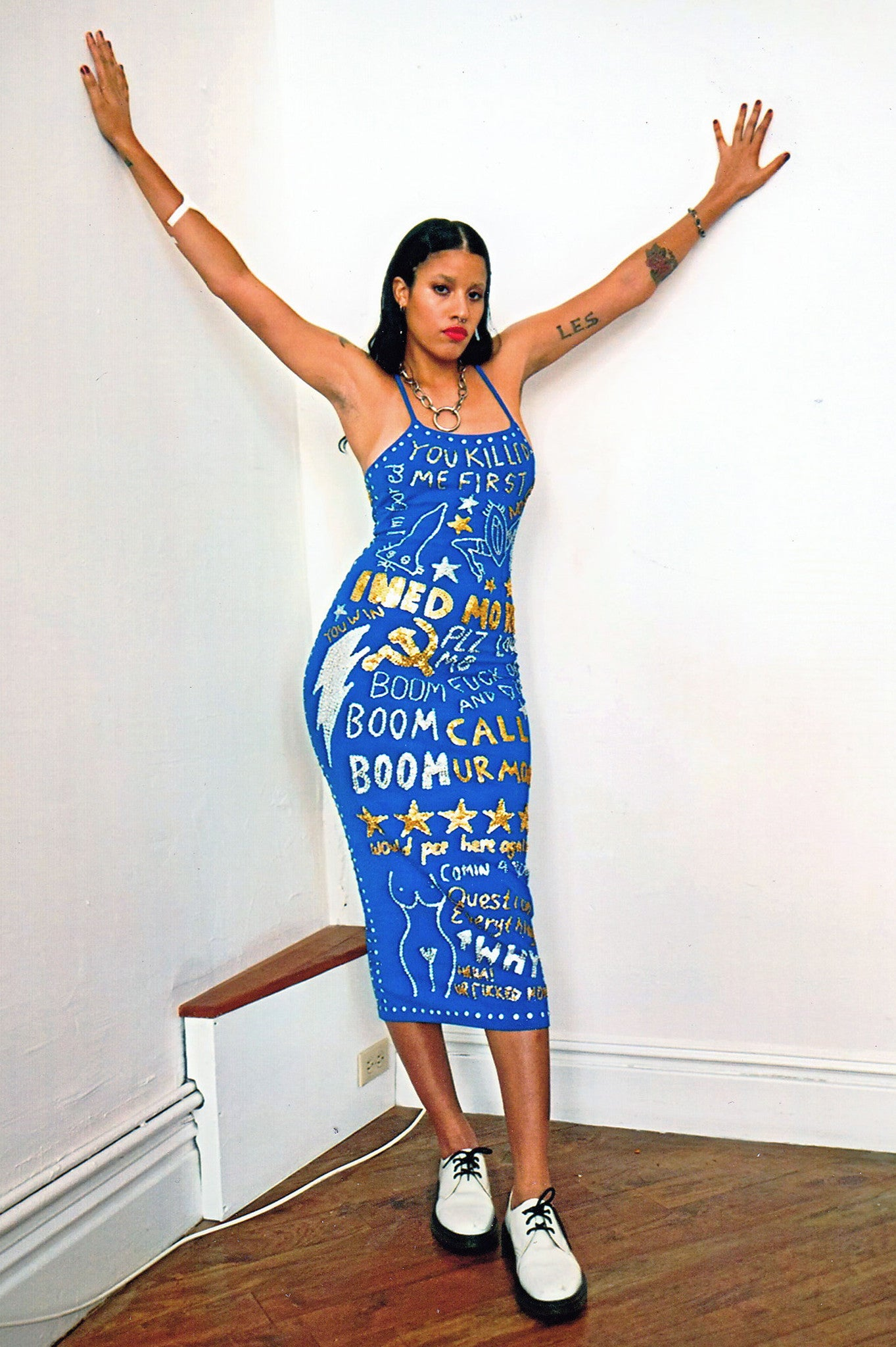 graffiti, graffiti lace up dress, blue toilet graffiti, sequinned graffiti, sequins, silver, gold, blue, lace up dress, lace up, blue, discount universe, di$count universe