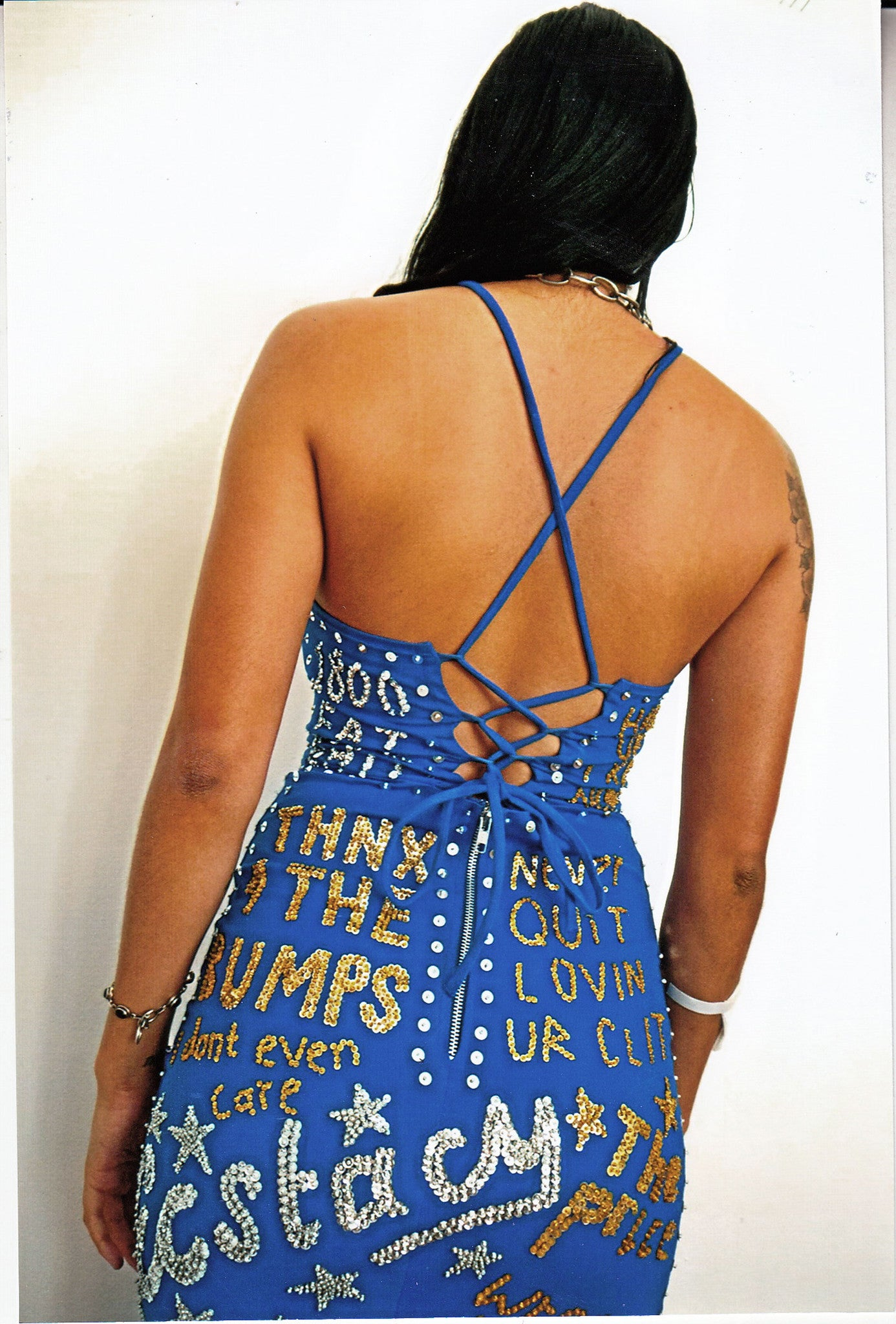 'TOILET GRAFFITI' Dress Blue