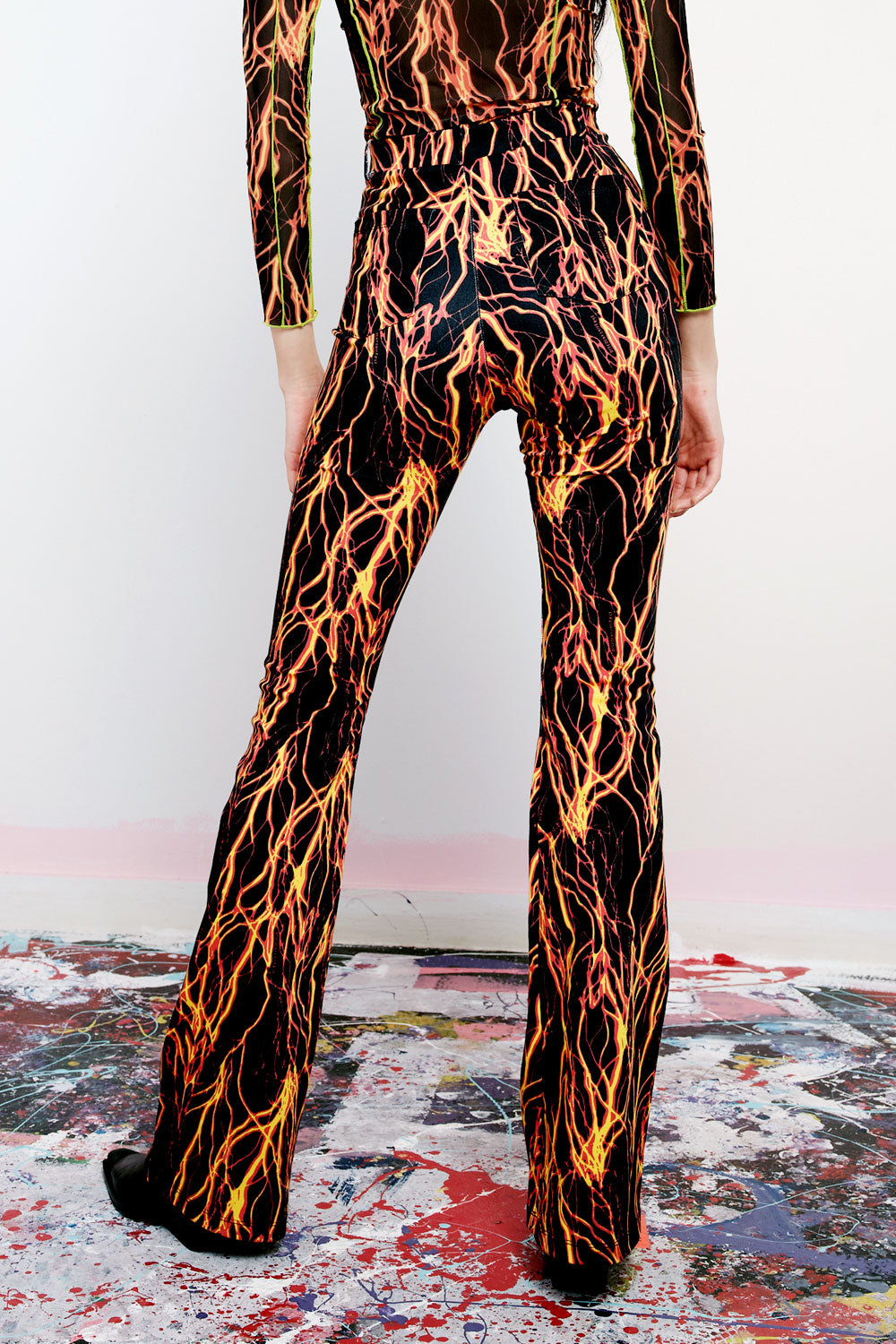 She's Electric Lightning Print Flares
