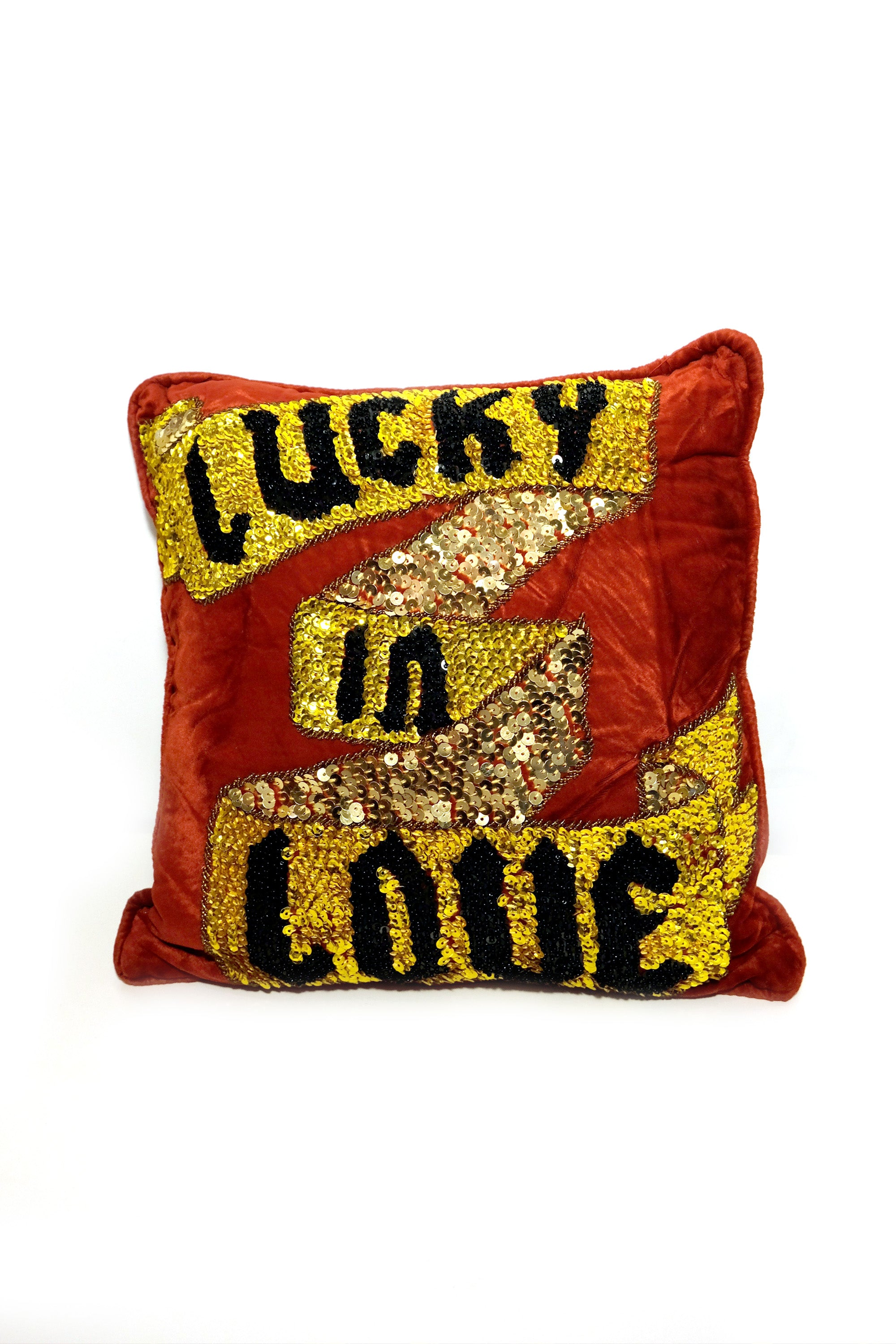 Lucky in Love Velvet Small Cushion Cover