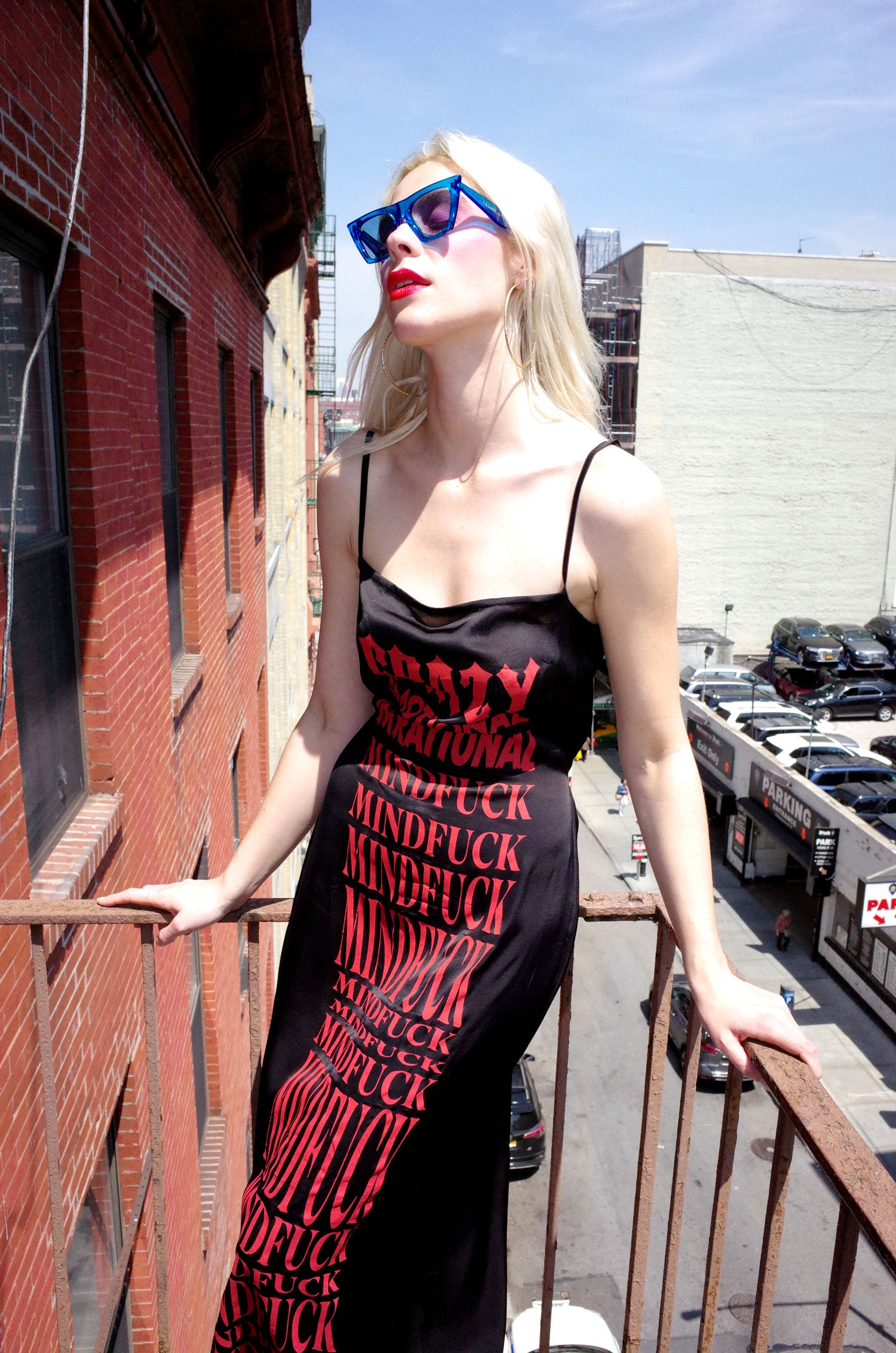 Black Mindfuck Print Slip Dress - Red