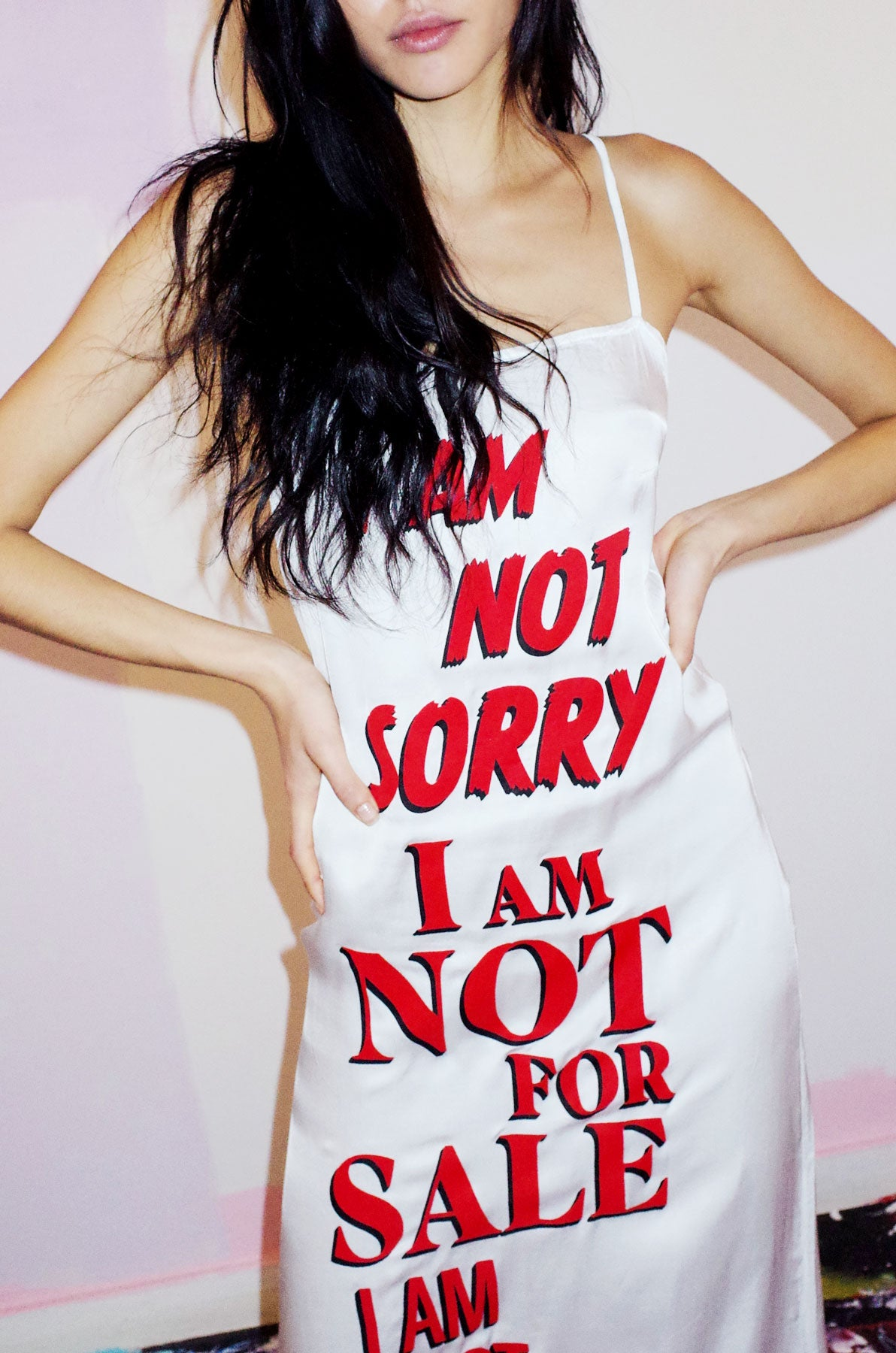 I AM NOT SORRY Print Slip Dress